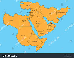 Middle East Geography Map by Map Middle East Stock Illustration 64439047 Shutterstock