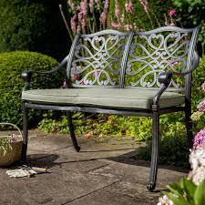 hartman 2 seater cast aluminium bench with wheatgrass