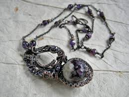 necklace wire images Unique wire wrapped amethyst necklace elksong jewelry jpg
