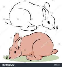 image bunny rabbit sniffing line drawing stock illustration