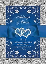 royal blue wedding invitations royal blue wedding invitation faux foil silver floral printed