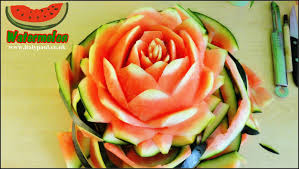 art in watermelon rose flower art of vegetable and fruit carving