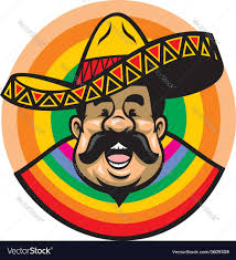 Cartoon Mexican Flag Cartoon Of Smiling Mexican Man With Sombrero Vector Image