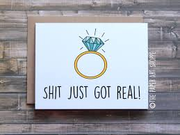 funny engagement card just got real card funny wedding