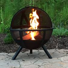 fire pit topper sunnydaze sphere flaming ball fire pit with cover u2013 30 u201d
