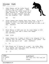 monster math word problems free pdfs for halloween