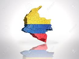 Colombian Map Map Of Colombia With Colombian Flag On A White Background Stock