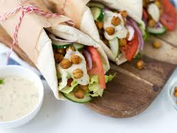 chickpea shawarma pitas with hummus dill dressing recipe food