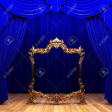 Blue Curtains Blue Curtains Gold Frame Stock Photo Picture And Royalty Free
