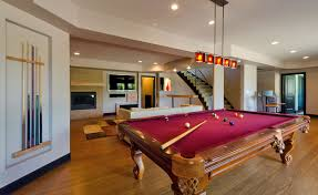 alluring finished basement idea with gorgeous pool table and mini
