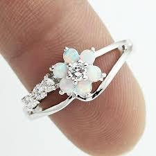 flower rings images Flower blue fire opal rings for women cosless jpg