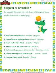 alligator or crocodile u2013 3rd grade life science printable u2013