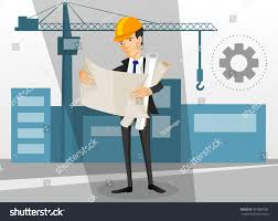 young architect watching plans build stock vector 407884504