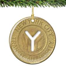 nyc subway token porcelain ornament