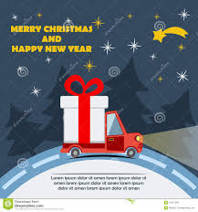 gift delivery van in christmas eve stock vector image 47221298