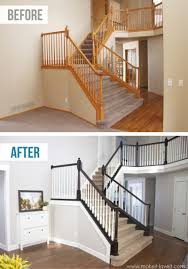 Wall Banister Model Staircase Diy How To Stain And Paint An Oak Banister