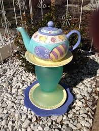 Ceramic Garden Decor Teapot Whimsy Upcycled Yard Art Teapot Garden Decor Ceramic