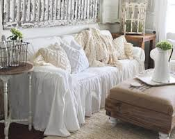 shabby chic sofa covers sofa slipcover etsy