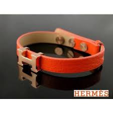 hermes bracelet leather images Hermes orange leather with pink gold h logo charm bracelet jpg