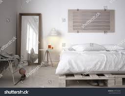 Scandinavian Bedroom Pallet Diy Bed Scandinavian Bedroom 3d Stock Illustration