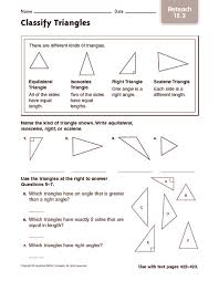 classify triangles reteach 4th 5th grade worksheet lesson planet