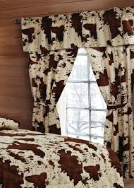 cream and brown spotted cow print curtain