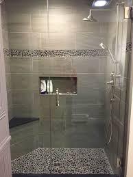 tile bathroom shower ideas large charcoal black pebble tile border shower accent https
