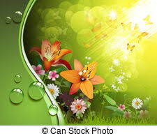 magic lilies and butterfly vector clipart search illustration