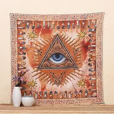 cilected sun orange indian mandala tapestry eye decorative wall