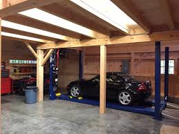 car lift bay in our 1 1 2 story barn open to roof above www car lift bay in our 1 1 2 story barn open to roof