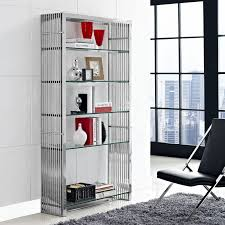 marvel stainless steel modern bookcase contemporary bookcase
