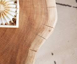 Wohnzimmertisch Rollbar Couchtisch Live Edge L Akazie Natur Baumstamm Mit Rollen Möbel