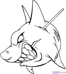 cartoon drawings of sharks drawing sketch library