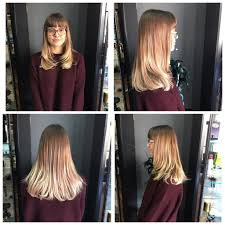women u0027s longhair with razor cut layers and blunt bangs on light