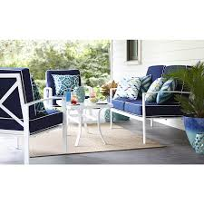 Blue Outdoor Cushions Allen Roth Black Patio Furniture Set 3 Aluminum Conversation