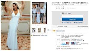 katie price is selling her wedding dress on ebay so sue me