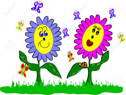 spring flowers and ladybug cartoon style royalty free cliparts