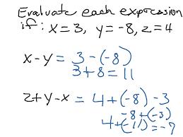 evaluate algebraic expressions pre algebra middle math