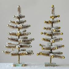 bottle brush tree with ornaments set of 2 antique farmhouse