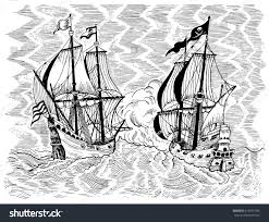 engraved marine illustration sea battle pirate stock vector