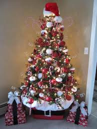 christmas trees decorated in red and white ne wall