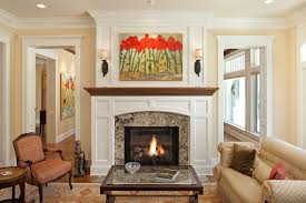 granite fireplace surround living room traditional with artwork chairs couch enamel