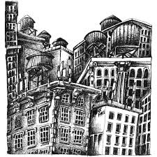 saatchi art new york city rooftops sketch 3 drawing by rainer