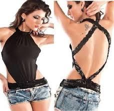 clubbing clothes black criss cross open back halter top sequin clubbing
