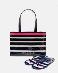 flip flop bag striped icon bag and flip flop set navy gifts for ted