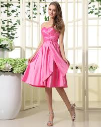 fuschia bridesmaid dress new arrival a line strapless ruched taffeta pink bridesmaid gowns