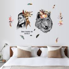 compare prices sticker tribal online shopping buy low price indian style wall stickers creative chief tribal and wolf decals bedroom living room dining