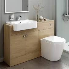 oak effect bathroom vanity basin sink cistern unit furniture with