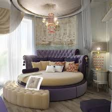 Cream Tufted Bed Bedroom Luxury Bedroom Design With Round Purple Bed Feat Curved
