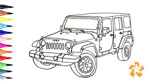 kid car drawing cars how to draw jeep wrangler coloring pages for children